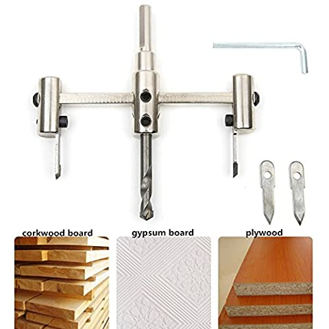 SROL 30mm-120mm Adjustable Circle Hole Saw Cutter Woodworking DIY Alloy Steel Drill Bit Kit with Cordless Twist Drill