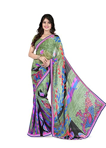 Sharda Sarees Georgette Saree (Olive Green) with Blouse Piece