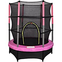 "Greenbay 4.5FT 55"" Outdoor Junior Trampoline Set with Enclosure Safety Net and Skirt Pink"