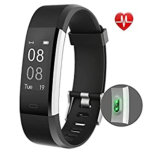 Fitness Tracker,YAMAY Activity Tracker Watch with Heart Rate Monitor Waterproof IP67 Fitness Watch,Sleep Monitor Step Counter Pedometer Watch for Kids Women Men Call SMS SNS Push for iOS Android Phone(Black)