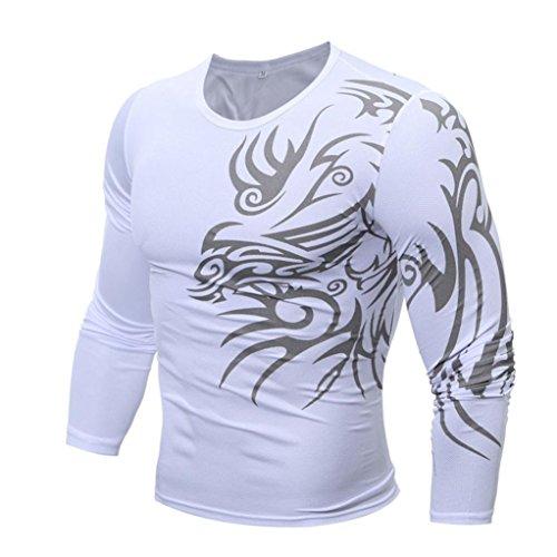 DEELIN Hommes Automne Mode Ras du Cou Impression Hommes Occasionnels Slim T-Shirt à Manches Longues (L, Blanc)