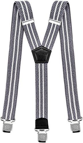Hosenträger für Herren breit extra starken 4 cm mit 3er Clips Y-Form Lange für Männer und Damen Hose (Silber Weiss)