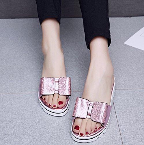 Aiyoumei Damen Offene Plateau Keilabsatz Pantoletten Sandalen Mit