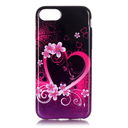 Coque Gel TPU Silicone pour Apple iPhone 7, Aohro Housse Etui Souple de Protection TPU Silicone Ultra Mince Back Cover Case, Smile Love