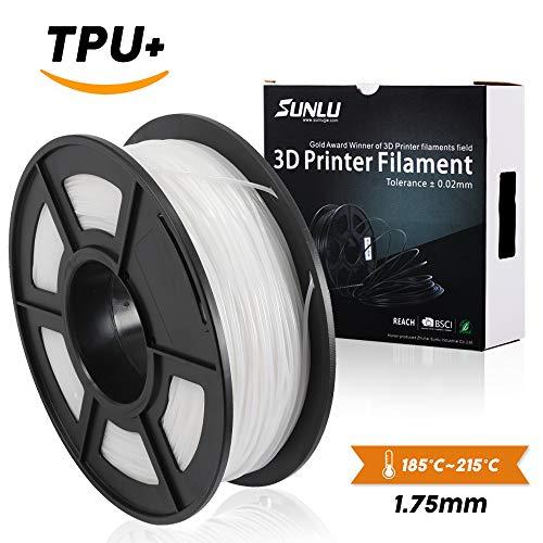 Preisvergleich Produktbild SUNLU 1.75mm flexibler TPU 3D Druckfaden, Maßgenauigkeit +/- 0.02 mm, 1KG Spule, 1.75 mm, weiß