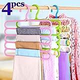 FreShine 5 Layer Pants Clothes Hanger Wardrobe Storage Organizer Rack (Set of 4), 32l x 1b x 33h cm (Assorted Colour) (4)