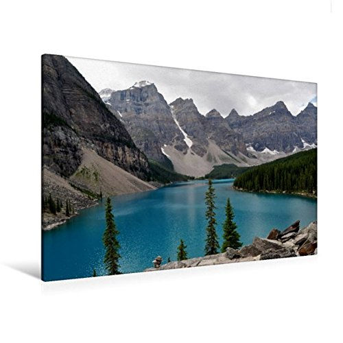 Premium Textil-Leinwand 120 cm x 80 cm quer, Moraine Lake, Kanada | Wandbild, Bild auf Keilrahmen, Fertigbild auf echter Leinwand, Leinwanddruck (CALVENDO Natur)
