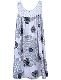 9d08ab08762 Wolfairy Womens Plus Size Dress Italian Lagenlook Summer Aztec Lace