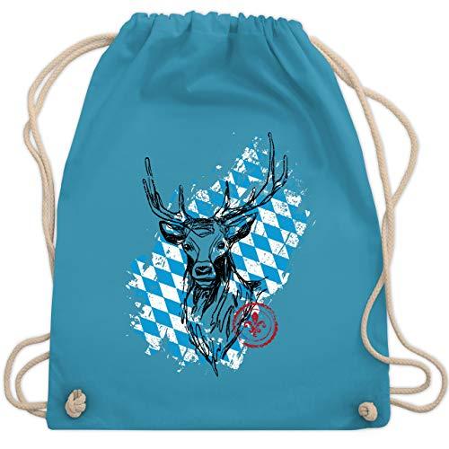 Oktoberfest Beutel - Hirsch mit bayrischem Muster - Unisize - Hellblau - WM110 - Turnbeutel & Gym Bag (Mit Bayrischem Kostüm)