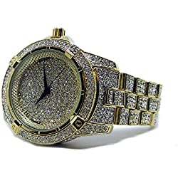 Millionaires Faux Diamant Lünette vergoldet Metall Strap HipHop Bling Armbanduhr