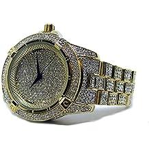 Millionaires sintética diamante bisel chapado en oro correa de metal HipHop Bling Reloj