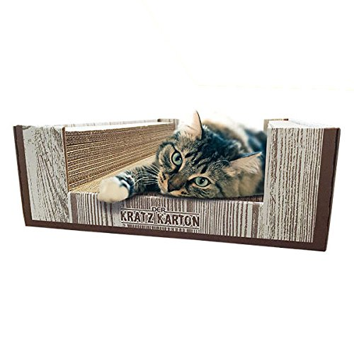 Scratch Box (CanadianCat Company ® | Der KRATZKARTON 2.0 | XXL Scratch Lounge | Kratzmöbel, Kratzbrett | Qualitäts-Wellpappe + Katzenminze | 34 X 56 X 12cm)