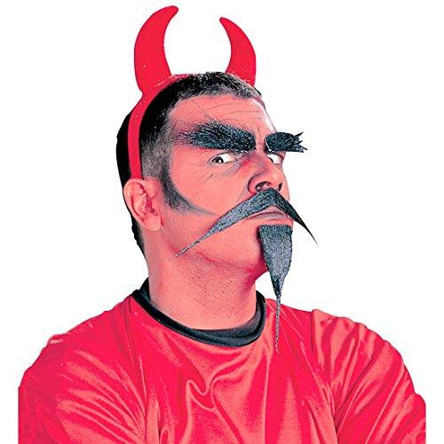 Teufel Set Mephisto Ziegenbart, Schnurrbart und Augenbrauen Satan Kostümset Devil Kopf Hölle Bart, Schnauzer und Brauen Teufelkostüm Zubehör