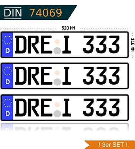 3 x KFZ Kennzeichen Autokennzeichen Wunschkennzeichen Nummernschild PKW Kennzeichen Fahrradträger Anhänger reflektierend individualisierbar
