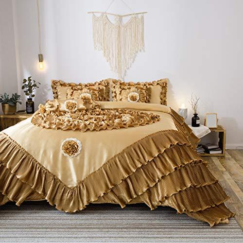 Satin Tröster-sets (Tache 6Stück Golden caramel Latte Faux Satin Satin Tröster Set in verschiedenen Größen, Polyester-Mischgewebe, Gold, Brown, Yellow, Mustard, Cream, Lemon, Amber, King Size)