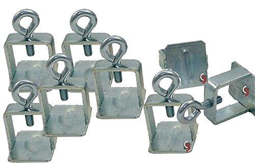 UvV UVQS4048 Klemmschellen Set mit 8 Schilderklemmschellen aus Stahl mit Ösenschraube für temporäre Beschilderungen, Verkehrszeichen insb. für Baustellen (Normalstahl verzinkt)