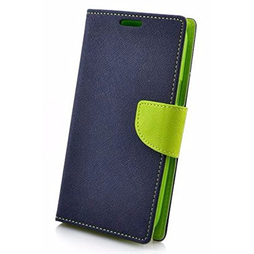 Avzax Stylish Luxury Magnetic Lock Diary Wallet Style Flip Cover Case for HTC One ME - Blue