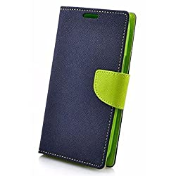Avzax Stylish Luxury Magnetic Lock Diary Wallet Style Flip Cover Case for Micromax Bolt Selfie Q424 - Blue