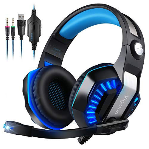 Cuffie da Gioco Vigorun GameK2 Cuffie Gaming Over Ear con Microfono a Cancellazione Rumore LED Light 3,5mm Stereo per PC Laptop Mac iPad Xbox One PS4 PSP