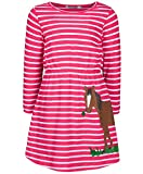 zoolaboo, Jersey-Kleid Pferd MIT KLEE, gestreift in pink/weiß, Größe 110, Mädchen