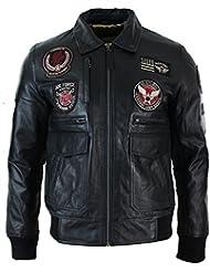 Blouson en cuir véritable noir homme avec badges style aviateur air force bomber