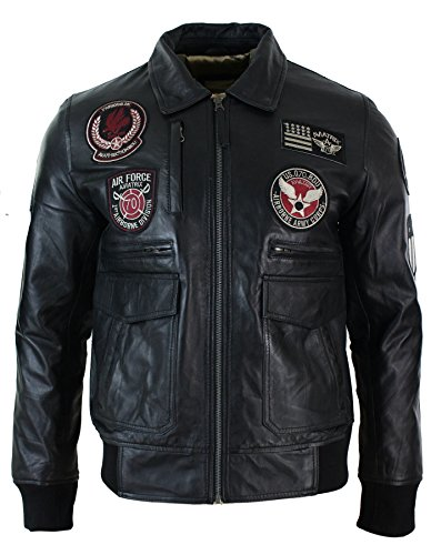 Herrenjacke 100% Echtleder Schwarz Bomber Aviator Design Air Force (Air Jacke Bomber Force Leder)