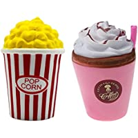 CosCosX 2 Pcs Squishy toy, Coffee cup Squishy and Popcorn Cup Squishy, Kawaii Jumbo Cream Scented Slow Rising Squishy Charms Squeeze Kid Toy for Stress Relief and Time Killing, Home Decoration