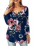 AMORETU Damen Bluse Floral Shirt V-Ausschnitt Langarm Oberteil Top Marineblau 50