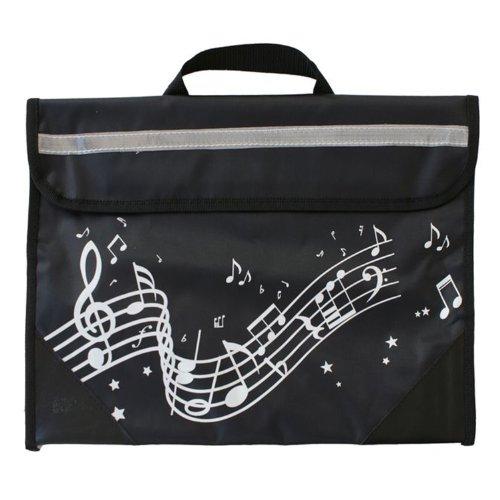 Musicwear Gewellt Notenlinien Musikinstrument Ordentliche Musik Leicht Zu Öffnendes Klettverschluss-tasche Musiker - Rosa Schwarz