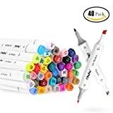 Stylo Marqueur, Ohuhu 80 Couleurs Double Pointe Art Croquis Stylos Marqueurs Fine Large Double Pointe Graphic (40 Couleurs Marqueurs)