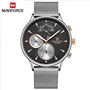 Naviforce Men's Black Dial Stainless Steel Mesh Analogue Classic Watch - NF301