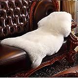 HLZDH oveja de piel sintética Felpudo alfombra Antideslizante Lujosa Suave Lana artificial Alfombra para salón dormitorio baño sofá silla cojín (90 X 60 CM, Blanco)