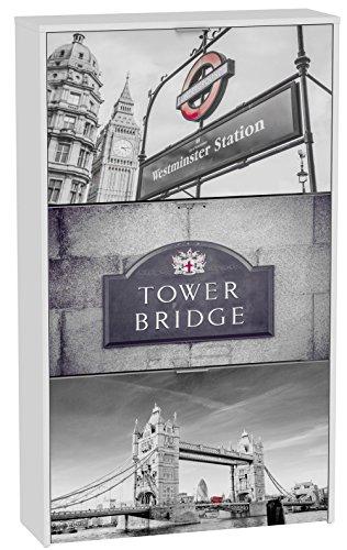 Commode à chaussures de 3 portes laqué blanc motif Tower Bridge, 750 x 242 x 1268 mm -PEGANE-
