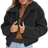 Bluelucon Damen Mantel Plüsch Jacke Revers Faux Wolle Jacken Warm Winter Stylische Fleecejacke Übergroße Fellmantel Outwear