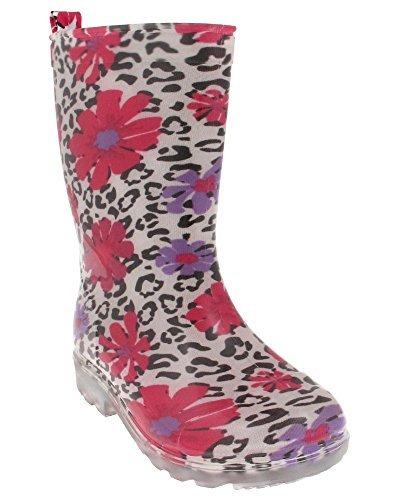 Capelli New York Shiny Leopard Flowers Printed Girls Jelly Rain Boot