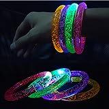 Toy - KAKOO LED Armband 8er-Set Leuchtarmband Armreif Blinkleuchte Armbänder Leuchtband für Geburtstag Konzert Party Disco Kinder Spielzeug mit Ersatzleuchtteile