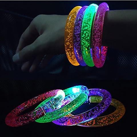 kAKOO LED Bracelet Clignotant Fun Coloré Light Up Bracelets à Bulles Pour Les Mariages Anniversaires Fêtes Fête de Concert Favors Enfants Jouets Ensemble de 8 Avec Des Batteries Supplémentaires