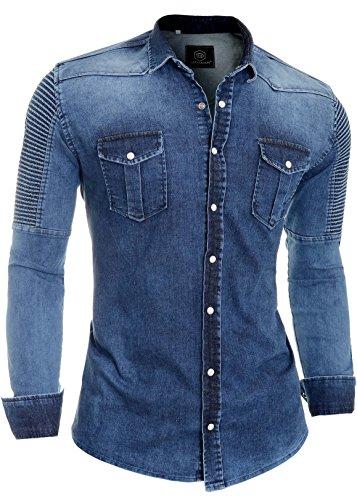 D&r fashion camicia di jeans da uomo costine denim blu tessuto spesso clips manica lunga l