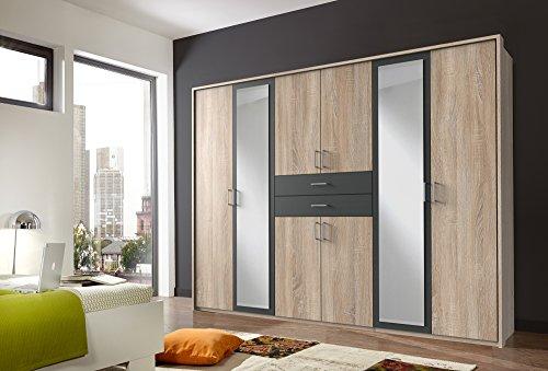 lifestyle4living Kleiderschrank mit Spiegel 270 cm   Drehtürenschrank Schlafzimmerschrank Schrank   8 türig 2 Schubladen Eiche Sonoma Graphit-Grau