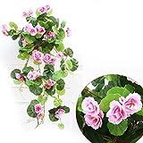 Providethebest Kunstseide Begonia Blumen Rebe Hängen Pflanze Rebe DIY Garland Startseite Rosa 68cm