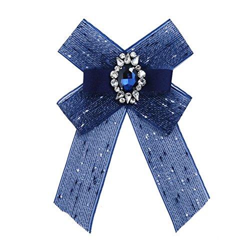 JUNGEN Schleifenbrosche Damen Broschen Diamant Broschennadeln Bekleidungs Zubehör, Blau -
