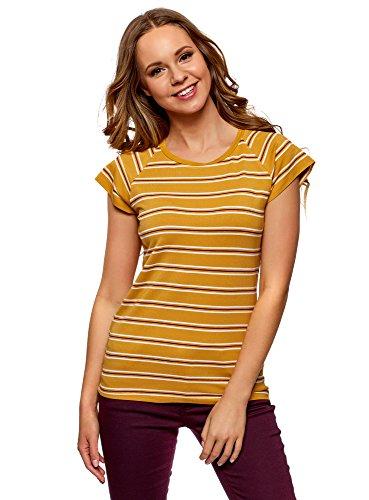 oodji Collection Damen Lässiges Viskose-T-Shirt, Gelb, DE 38 / EU 40 / M