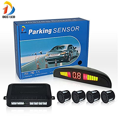 DEC LED Car LED Parking Reverse Backup Radar System with Backlight Display 4 Sensors (White/Black/Silver/champagne Optional) (Black)