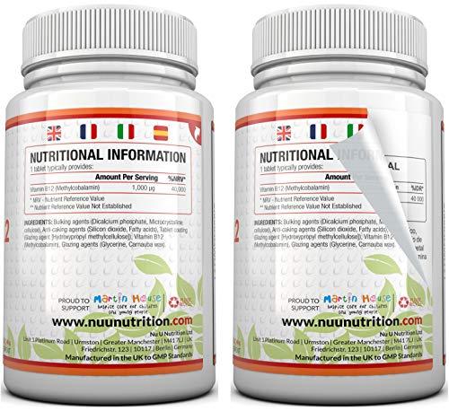 Vitamin B12 Methylcobalamin 1000 mcg – 6-Monats-Versorgung – 180 Tabletten – Nahrungsergänzungsmittel von Nu U Nutrition - 5