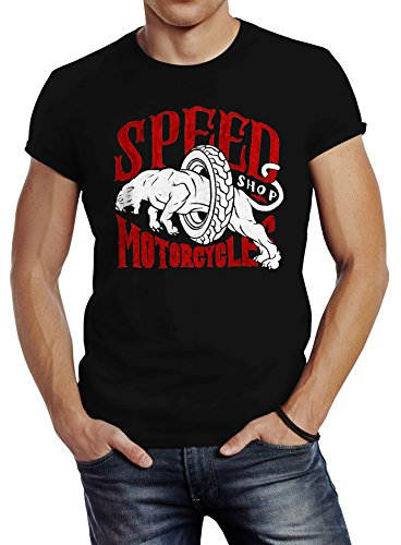 Herren T-Shirt Motorrad Biker Vintage Retro Slim Fit Neverless® Schwarz