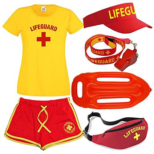 Damen Lifeguard T-shirt Shorts Bum Tasche, Sonnenblende, Pfeife und Float 6Stück Set, mehrfarbig, LG5006 (Bum Shorts Kostüm)