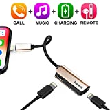 iPhone 7/7Plus Adapter,Baseus Dual Lightning Headphone Audio & Charge & Call Adapter Splitter for iPhone X / iPhone 8 /8 Plus / iPad / iPod Support for iOS 10 ~ iOS 11 and Later (L37 - Blush gold)