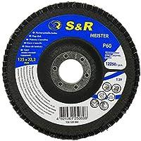 S&R Disco de Láminas 125 para Acero y Madera, Grano 60. Juego de 10 discos abrasivos