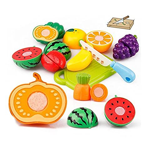 Pretend Play Food Toys, KEERADS 20PC Cutting Fruit Vegetable Pretend Play Puzzle Toys Children Kids Educational Toy