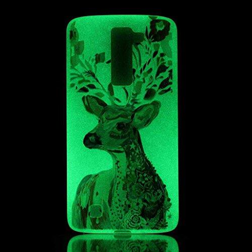 BoxTii Cover in TPU per iPhone 6S/iPhone 6 con protezione per lo schermo in vetro temperato, luminosa di notte, ultra sottile, morbida, antigraffio, antiurto, design: dente di leone, PLASTICA, #3 Blue #7 Deer